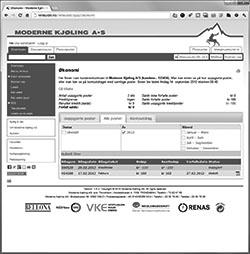 Skjermbilde av Økonomisiden med pdf-link til fakturaer til høyre på siden!